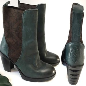 Fly London Shoes - Fly London Mezafly Carved Heel Leather Ankle Boots